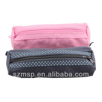 colorful solid white dot edging zip closure pencil case for primary school kids