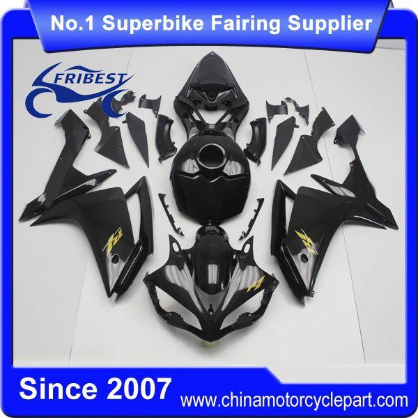 Ffkya005 moto carénages pour R1 2007 2008 brillant noir et or stickers carénage Kit