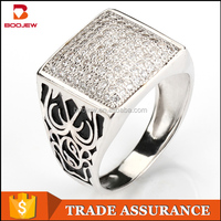 High quality fashion jewelry natural white zircon stone 925 sterling silver Muslim man ring