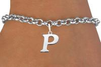 Fashion Silver Tone Zinc Alloy Metal Bracelet With P Letter Charm