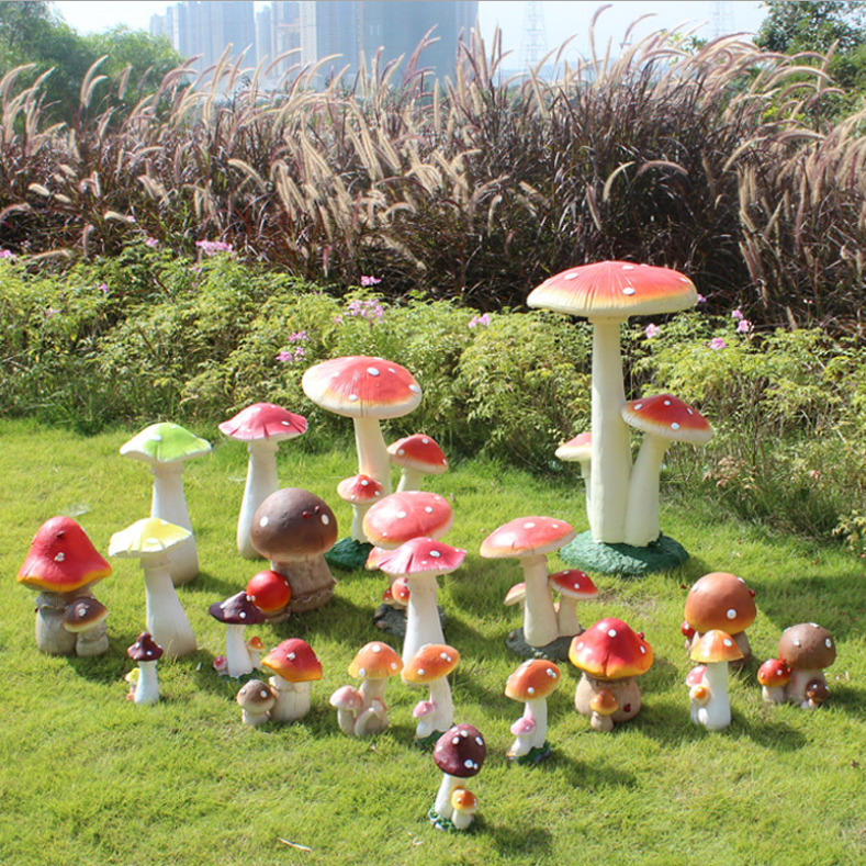 Garden ornaments fiberglass decorative garden mushroom sculpture
