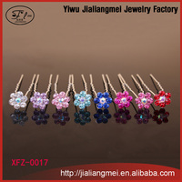 [Mix Color] 2015 Fashion crystal flower hair accessories hair pins mixed 8 colors with 200pcs/box