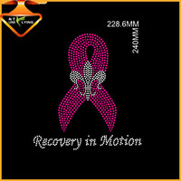 Beautiful pink rhinestone breast cancer ribbon iron on rhinestone motif