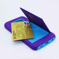 Mobile phone card holder rubber case for Samsung Galaxy S6 hard armor cover