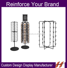 Factory Supply Rotatable Snack Display Stand Supermarket/ Retail Store Floor Metal Wire Clip Rack With Top Sign Card