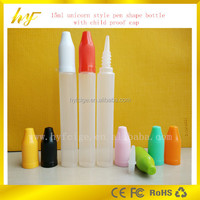 the most popular 15ml PE plastic e liquid bottle with unicorn and pen shape with childproof cap