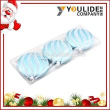 Decorating Glitter Christmas Flat Balls ,Oblate Elegent Hanging Tree Ornaments Balls