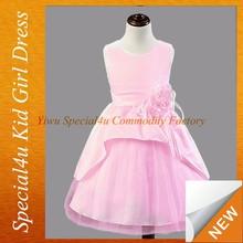 Pink children girls frock design fluffy party frocks for girls SFUBD-1005