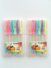 Multicolor Neon rainbow gel pen set in pp box , milky gel pen