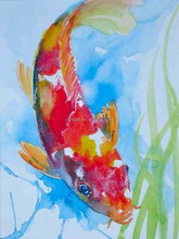 Beautiful Colors Fresh Designed Hand Painted Water Animals Fish Carp Oil Painting On Canvas For Kitchen Oil Painting