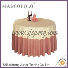 Polyester tablecloth/used wedding decorations cloth table for sale/wedding ivory and pink table cover