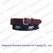 Wholesale Woven Leather Belt with Navy Canvas Backing and Leather Tabs