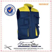 Wholesale Clothes Mens Contrast Color Uniform Workwear Winter Vest