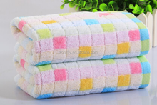 KLM-243 colorful grid design 100% organic cotton face towel for gift,promotion