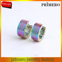 PRIMERO Factory Price! Men Earrings 18K Gold Earrings 316L Stainless Steel Stud Earrings Greek Key High Quality Wholesale