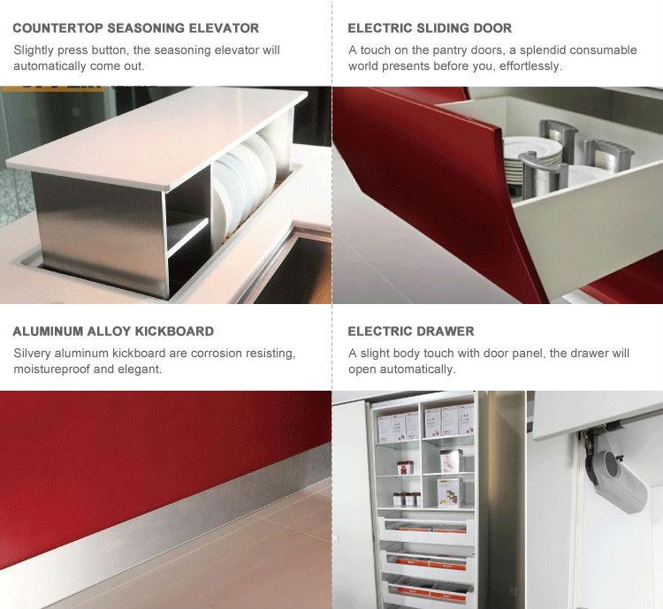 gabinetes de cocina de color rojo a medida modular moderno gabinete de
