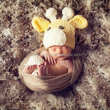 MZ2897 Newborn Costume baby hat Short Set handmade Knit crochet photography props deer design 2 pcs outfits