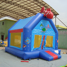 Ocean fish animal designed inflatable jumping bouncer with slide/ bouncer castle