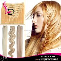 alibaba express qingdao 8A raw wholesale brazilian hair clip in platinum blonde human hair extension braiding