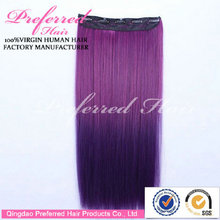 China Professional Manufacturer Ombre Color Natural Straight Clip In Brazilian Hair Extensions Accept Paypal Payment