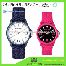 2014 trendy pure color interchangeable knit woven strap watches