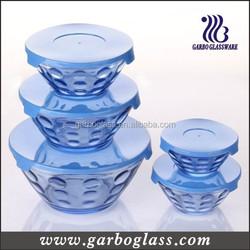 Dot design 5 pcs Glass Bowl Set/Glass Storage Bowl Set/Glass Bowl Set