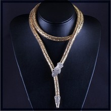 Unisex punk jewelry 2015 UK winter hottest unique long flexible snake chain necklace free sample