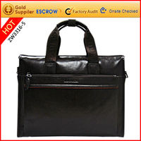Factory wholesale leather top open laptop bag
