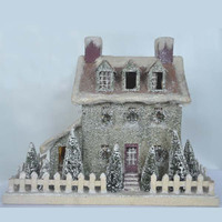 2014 Best selling Victorian christmas paper house with snowing christmas tree,fence and chimney from Shenzhen China factory
