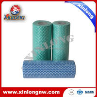 Disposable Polyester/Viscose Fabric Kitchen Cleaning Cloth in Roll