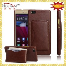 leather custom back cover for Huawei P8 lite original phone case wallet back cover for Huawei P8 lite