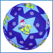 Colorful cartoon design size 3 rubber basket balls for kids
