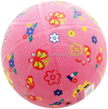 3#/5# Pink butterfly toy ball/ rubber toy ball for kids/ toy basket balls for girl