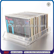 TSD-A341 Viewing Attractive NEW Flip 20 CD clear plexiglass cd holder/acrylic cd holder rack display stand/cd rack for retail