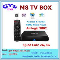 Best M8 android tv box S802 Android 4.4 Quad Core Mini PC TV Box 4K HD Media Player Octa Core GPU, 2GB RAM, 8GB with dual wifi