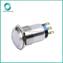 19mm 250VAC IK09 Silver Alloy non-Illuminated high quality waterproof push button latching tact switches