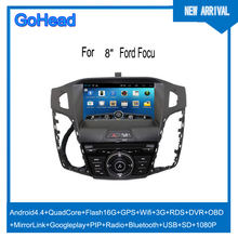 For Ford Focus 2013 Car DVD GPS Android Navigation Quad Core USB SD Wifi 3G RDS Radio MP5 DVR OBO Mirror Link 1080P