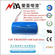 3.6V er34615m lisocl2 battery with lead wires for gas meter