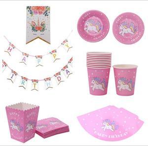 Venta caliente unicornio fiesta Banner taza palomitas de maíz taza gorro placa Cupcake Topper 42 unids