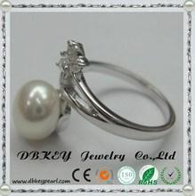 9-10 mm pearl rings small butterfly shape cz zircon for girlfriend