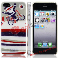 Happy Santa Clause Bicycling Pattern Christmas Protective Case For iPhone 5