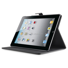 Premium classic leather worn polish surface folding stand flip PU case auto weak/ sleep cover for iPad air 1/2