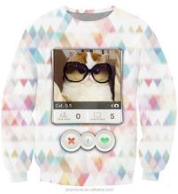 In stock cheap animal cat 3d digital print hoodies women