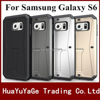 New Arrival phone cases TPU +PC 4-in-1 Armored Tank Kickstand case with sereen Guard for Samsung Galaxy S6
