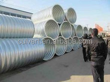 Corrugated Metal pipe, storm water drainage, culvert, drain hot dip round flexible galvanized corrugated steel culvert pipe