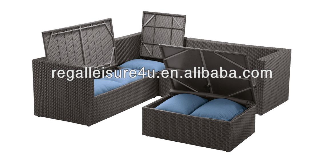 5pcs al aire libre jard n poli sof de mimbre conjunto for Sofa con almacenaje