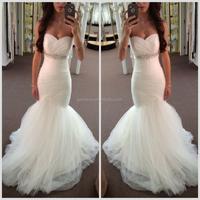 Sweetheart Neckline White Tulle 2012 Ruffled Mermaid Wedding Dress with Crystal Sash