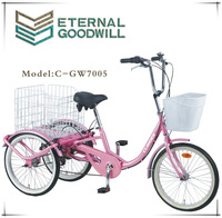 20 inch 7speeds 3 wheels tricycle bike/cargo bicycle with wooden case GW 7005