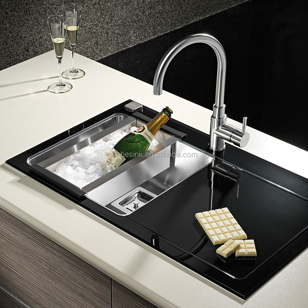 stainless steel glass top kitchen sink with drainer