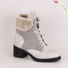 Autumn and Winter White PU Ankle Boots